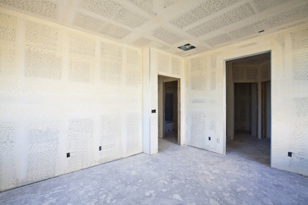 New Construction of Drywall/Plasterboard Interior Room