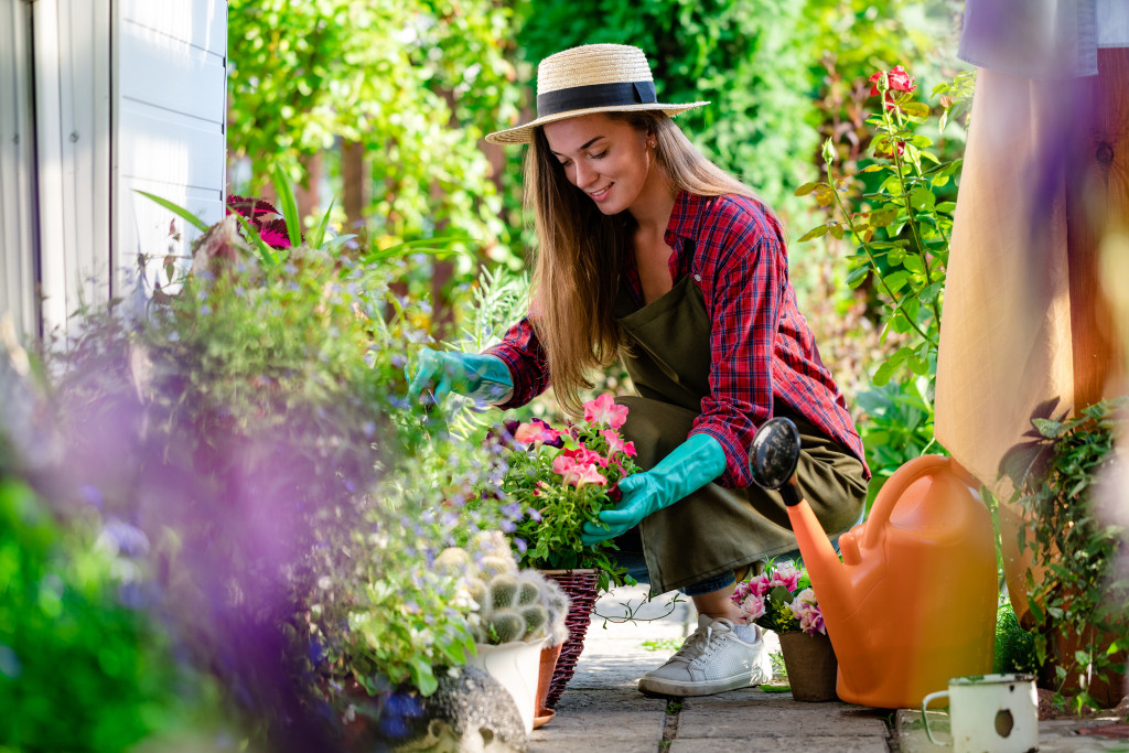 woman gardening outside