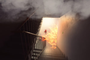 fire by the building stairs