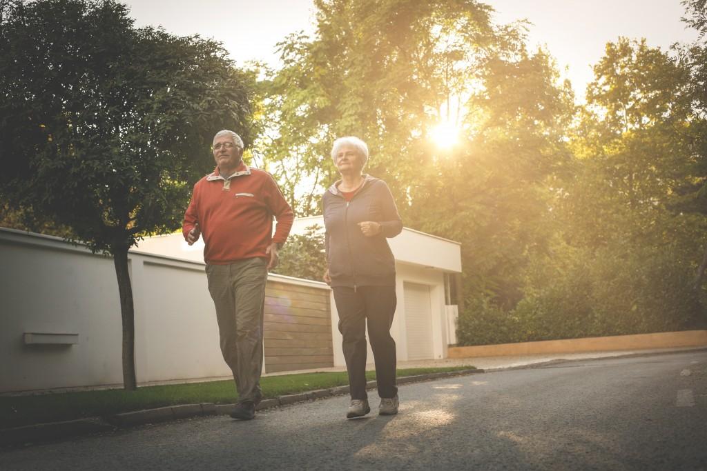 elderly jogging