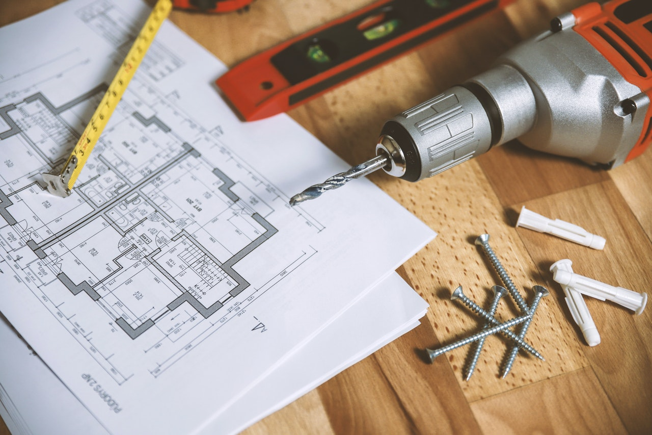 construction tools and blueprint