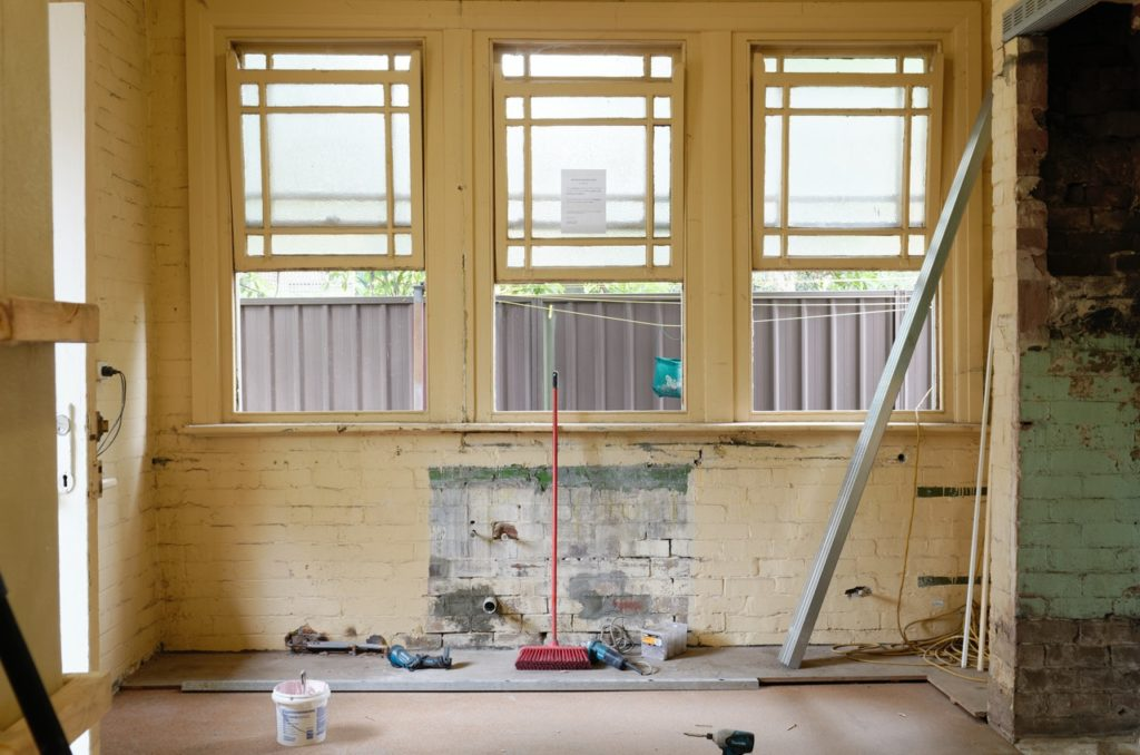 windows of a room being renovated