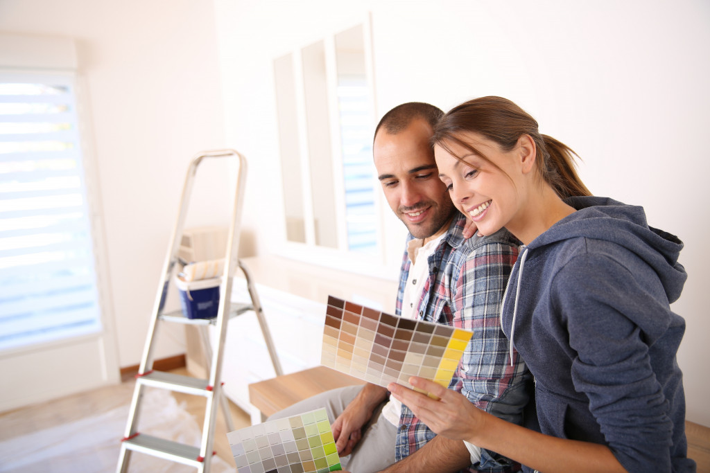 couple planning for wall paint