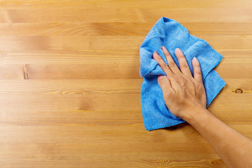 cleaning kitchen surface