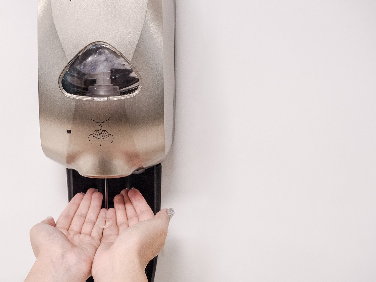 sanitizing hands